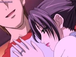 Anime milf enjoys anal dildo